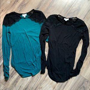 Bisou Bisou Long sleeve lacey shirt bundle- XS